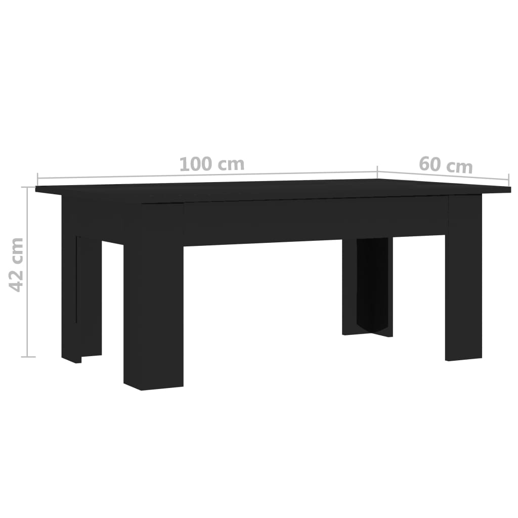 Coffee Table High Gloss Black 100x60x42 cm Chipboard 6