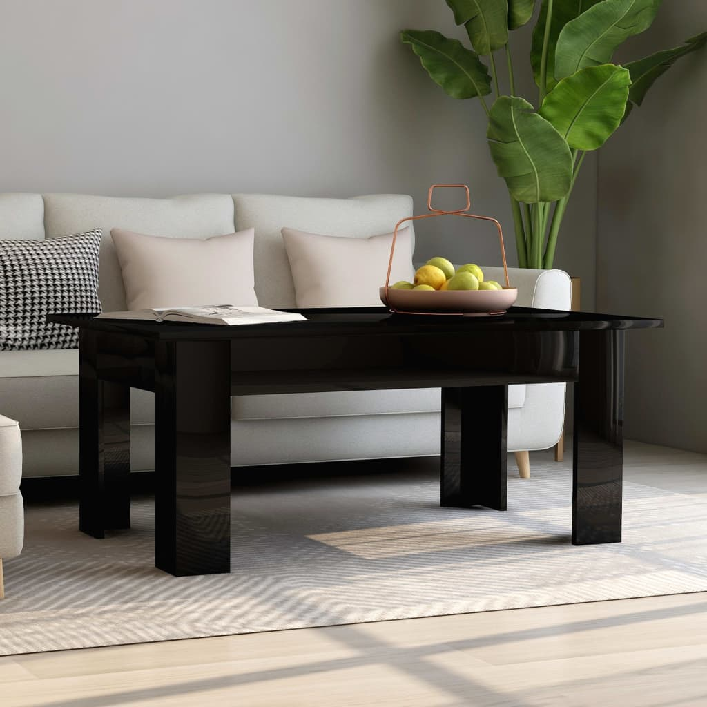 Coffee Table High Gloss Black 100x60x42 cm Chipboard 1