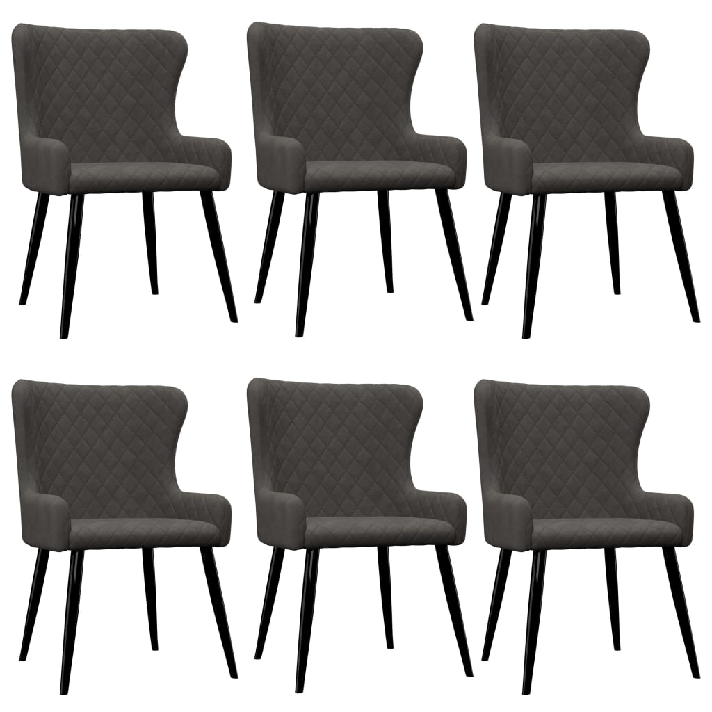 Dining Chairs 6 pcs Grey Velvet 1