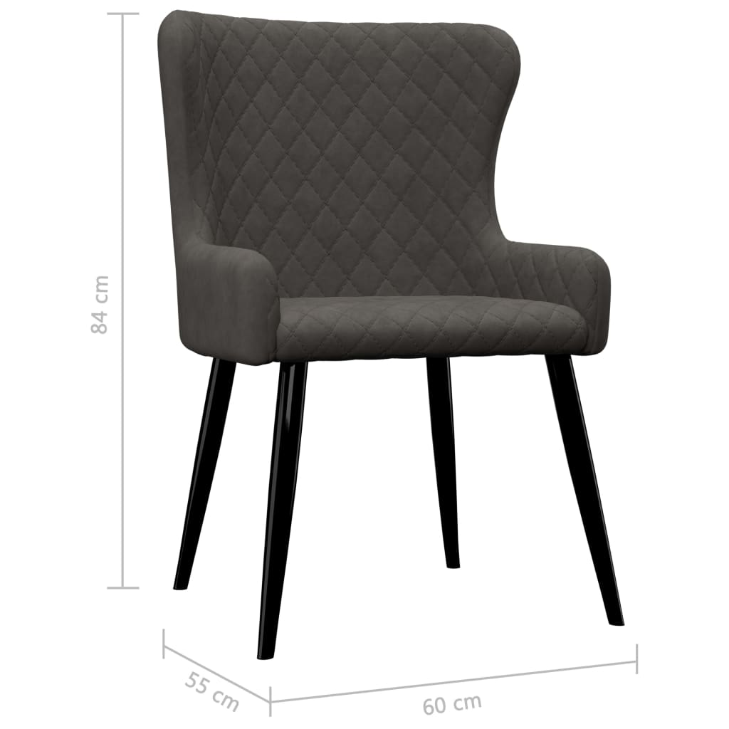 Dining Chairs 6 pcs Grey Velvet 7