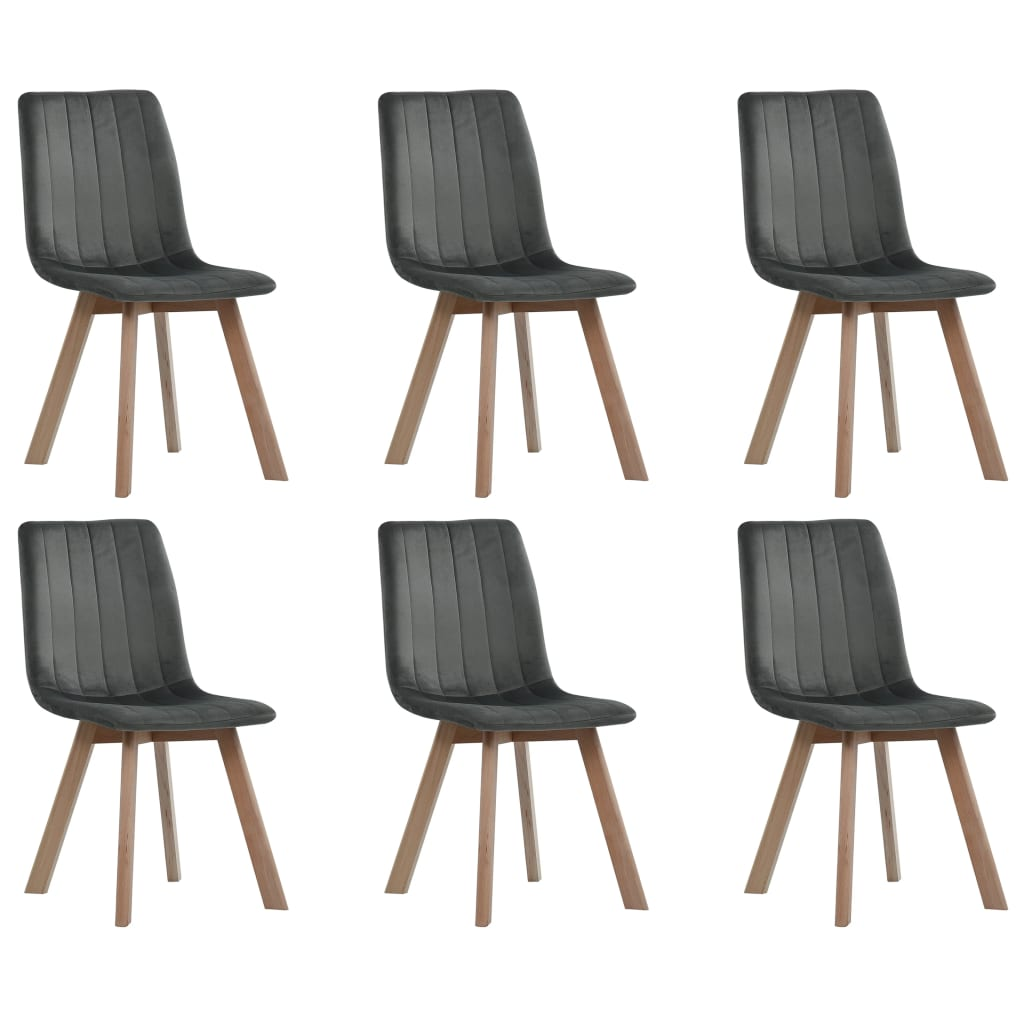 Dining Chairs 6 pcs Grey Velvet