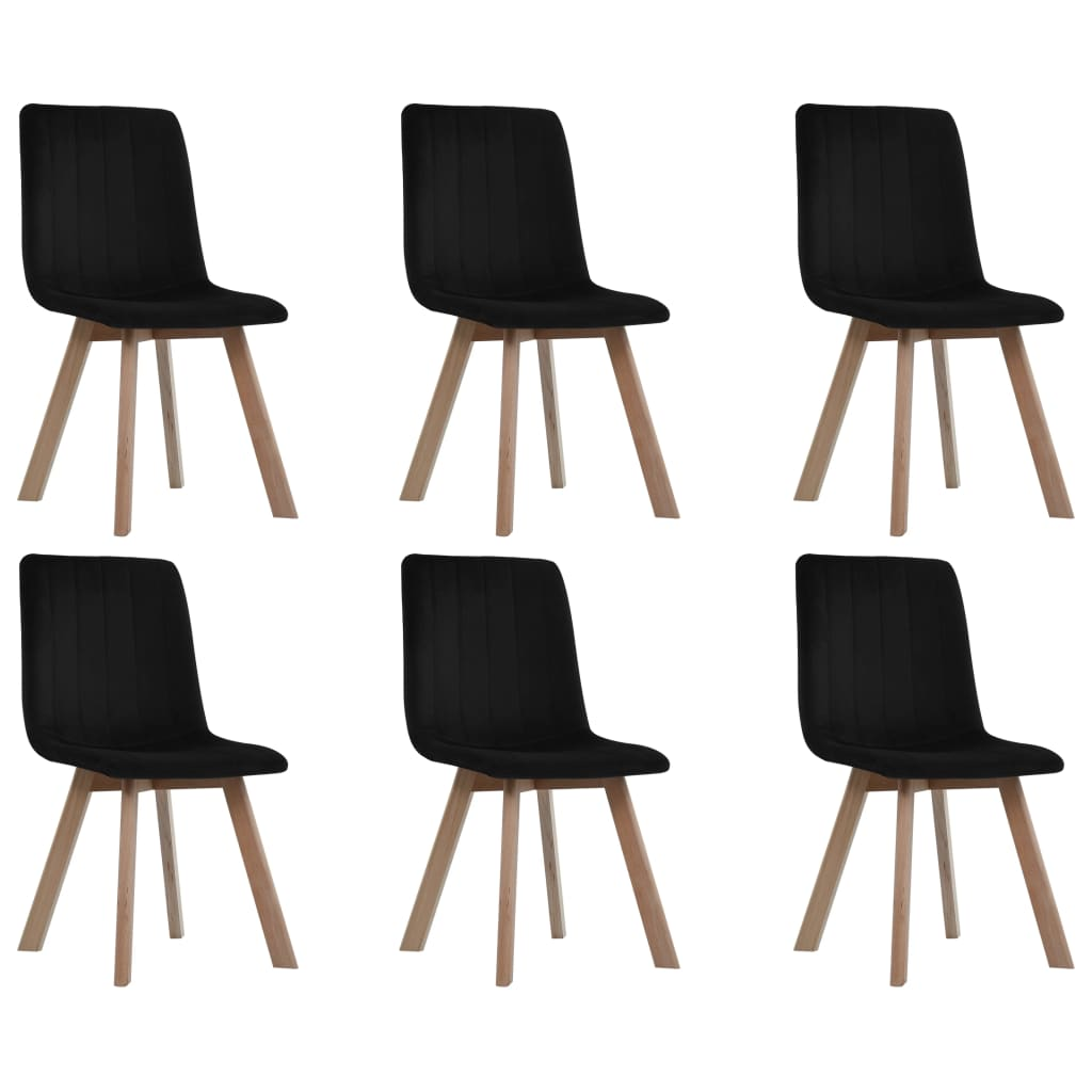 Dining Chairs 6 pcs Black Velvet 1