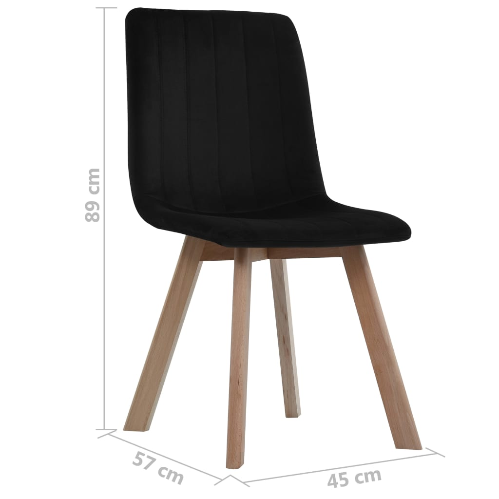 Dining Chairs 6 pcs Black Velvet 7