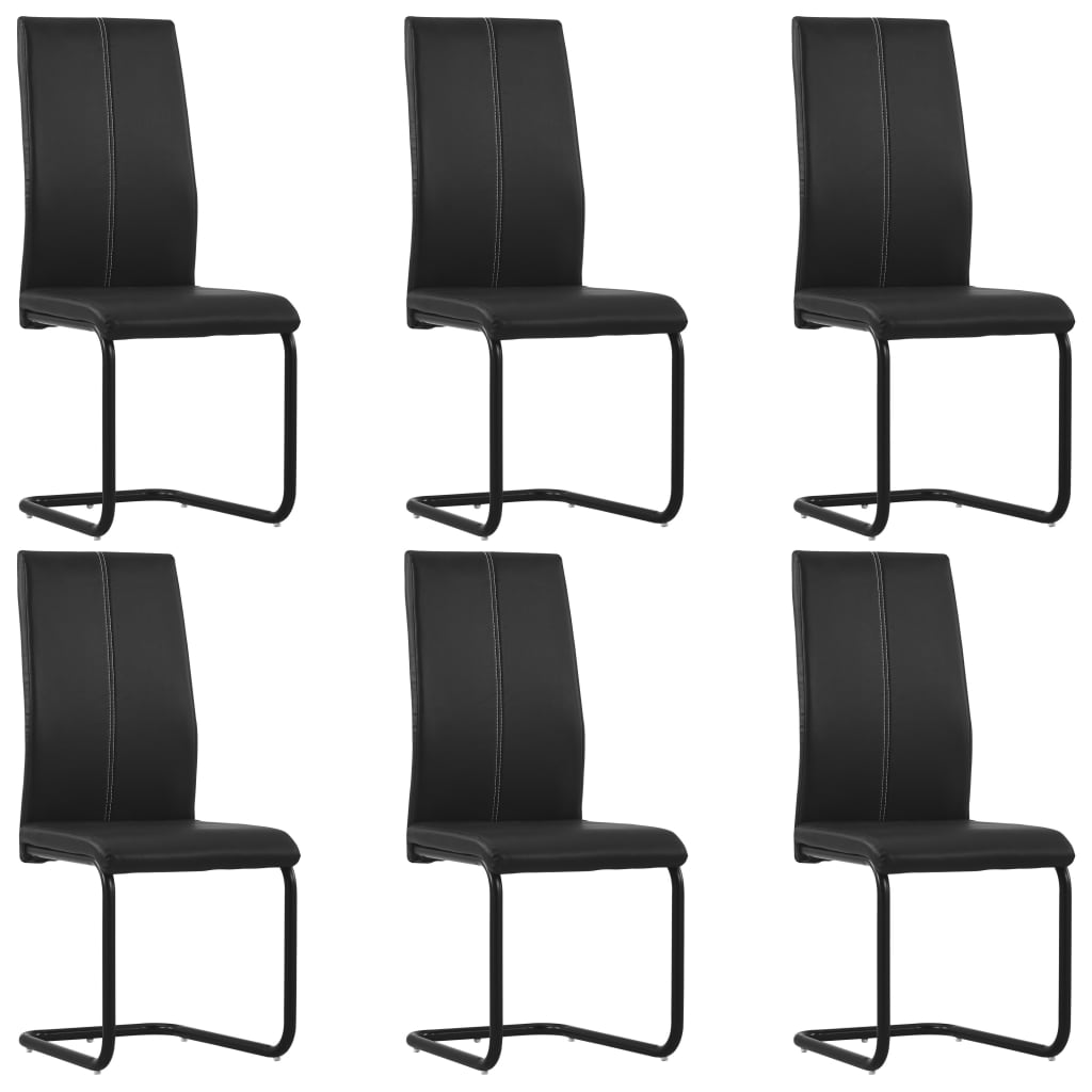Dining Chairs 6 pcs Black Faux Leather 1