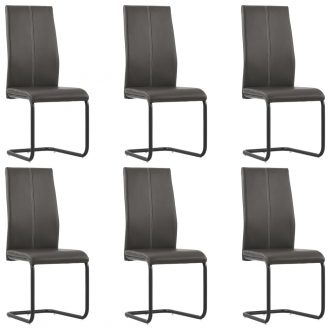 Dining Chairs 6 pcs Brown Faux Leather 1