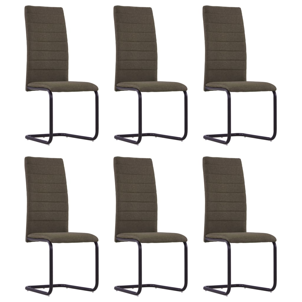 Dining Chairs 6 pcs Brown Fabric 1