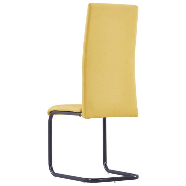 Dining Chairs 6 pcs Yellow Fabric 5