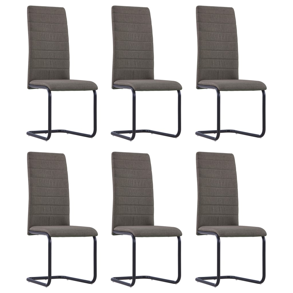 Dining Chairs 6 pcs Taupe Fabric 1