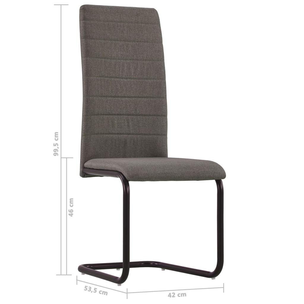 Dining Chairs 6 pcs Taupe Fabric 8