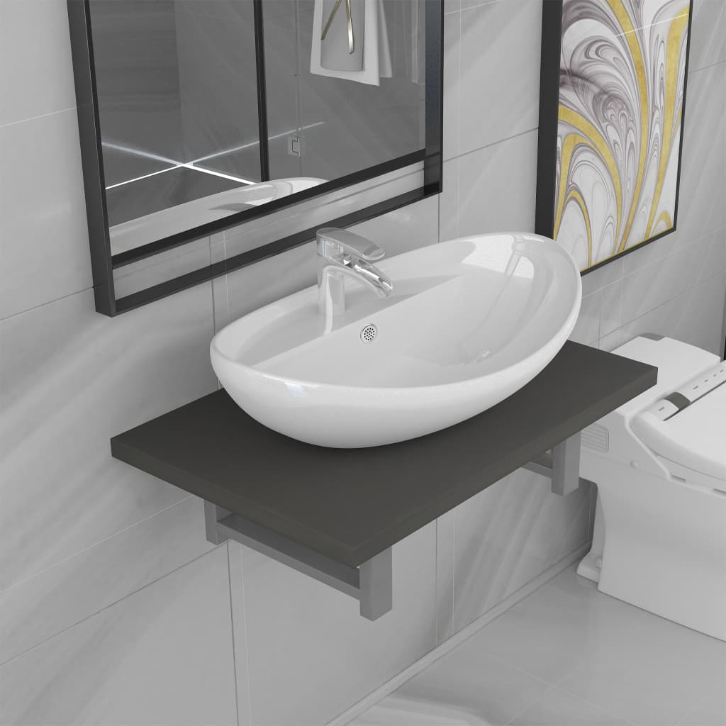 Two Piece Bathroom Furniture Set Ceramic Grey