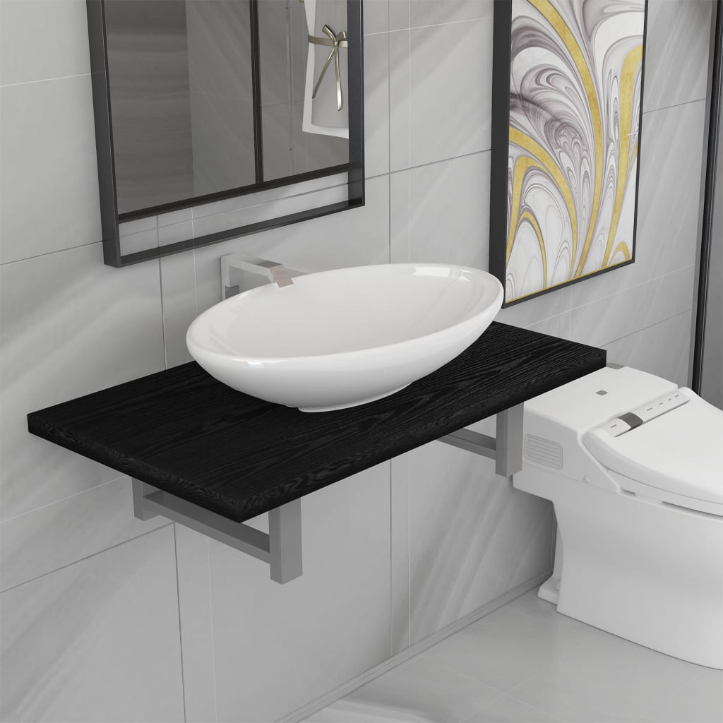 Two Piece Bathroom Furniture Set Ceramic Black 1