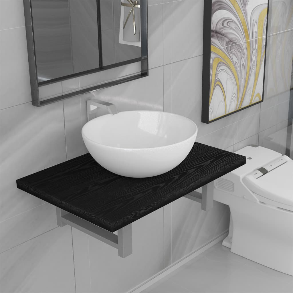 Two Piece Bathroom Furniture Set Ceramic Black