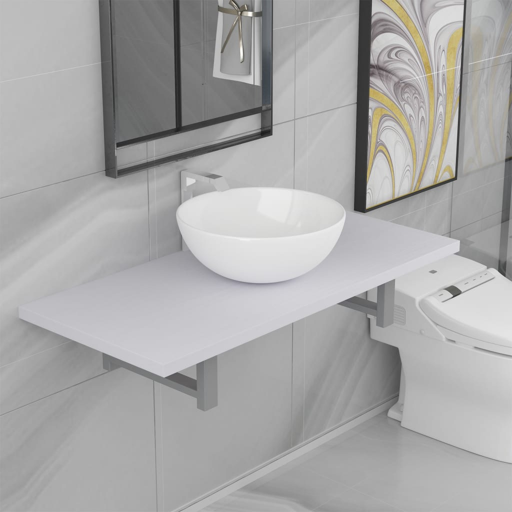 Two Piece Bathroom Furniture Set Ceramic White