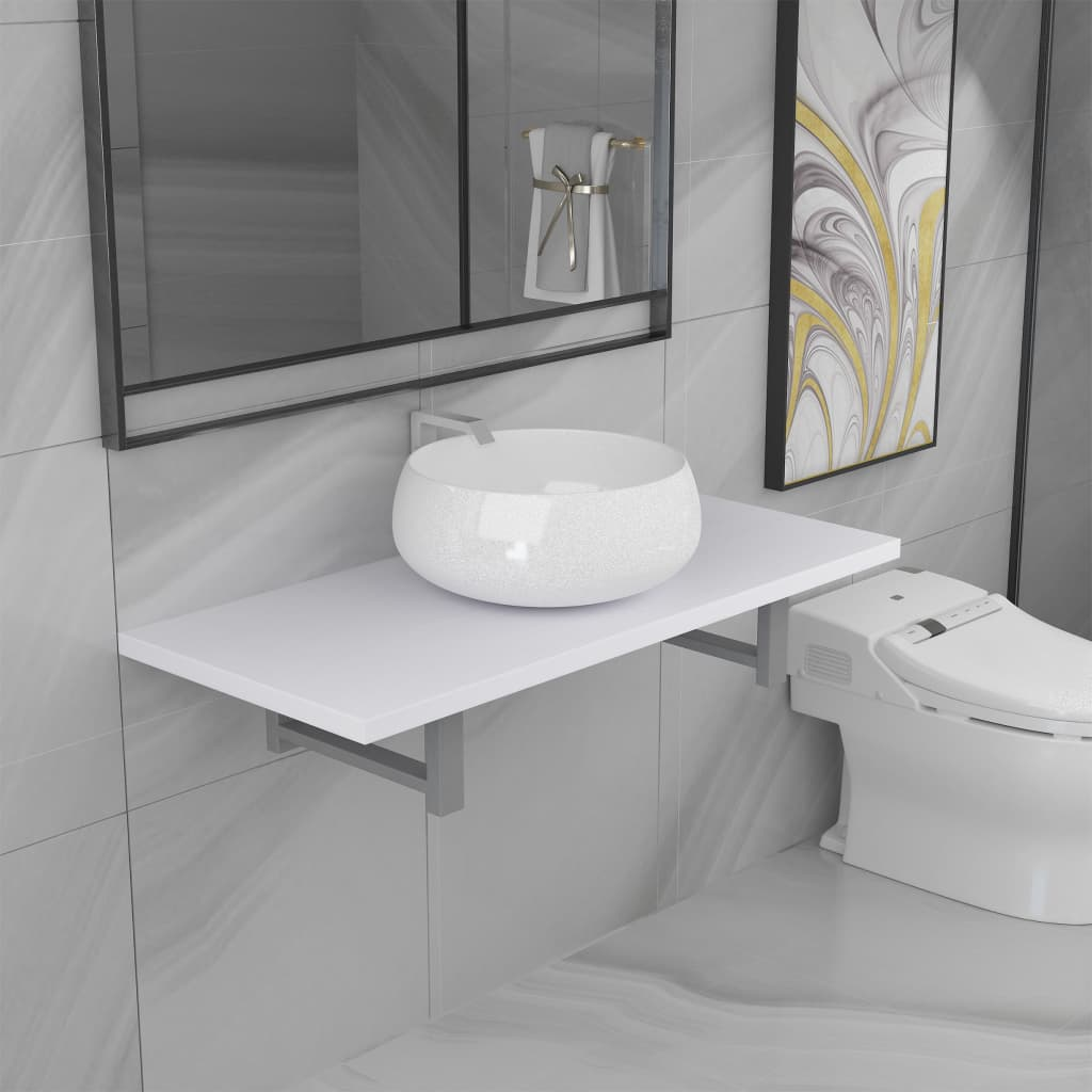 Two Piece Bathroom Furniture Set Ceramic White 1