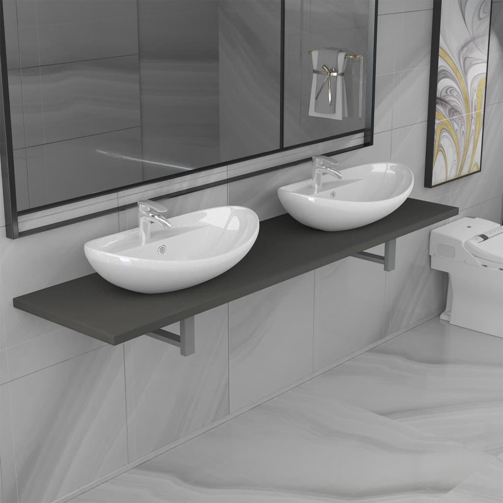 Three Piece Bathroom Furniture Set Ceramic Grey