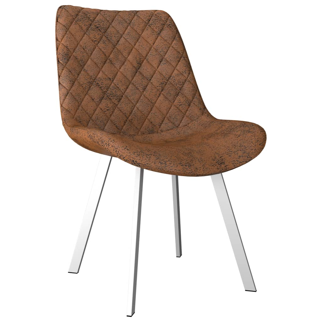 Dining Chairs 4 pcs Brown Faux Suede Leather 2