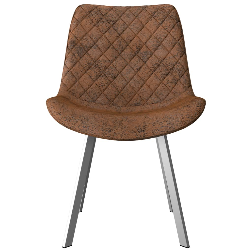 Dining Chairs 4 pcs Brown Faux Suede Leather 3