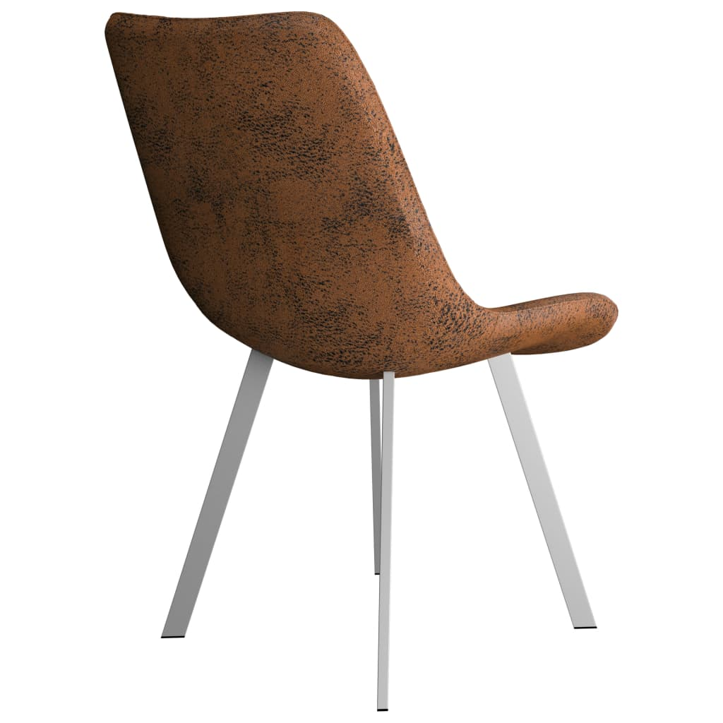 Dining Chairs 4 pcs Brown Faux Suede Leather 5
