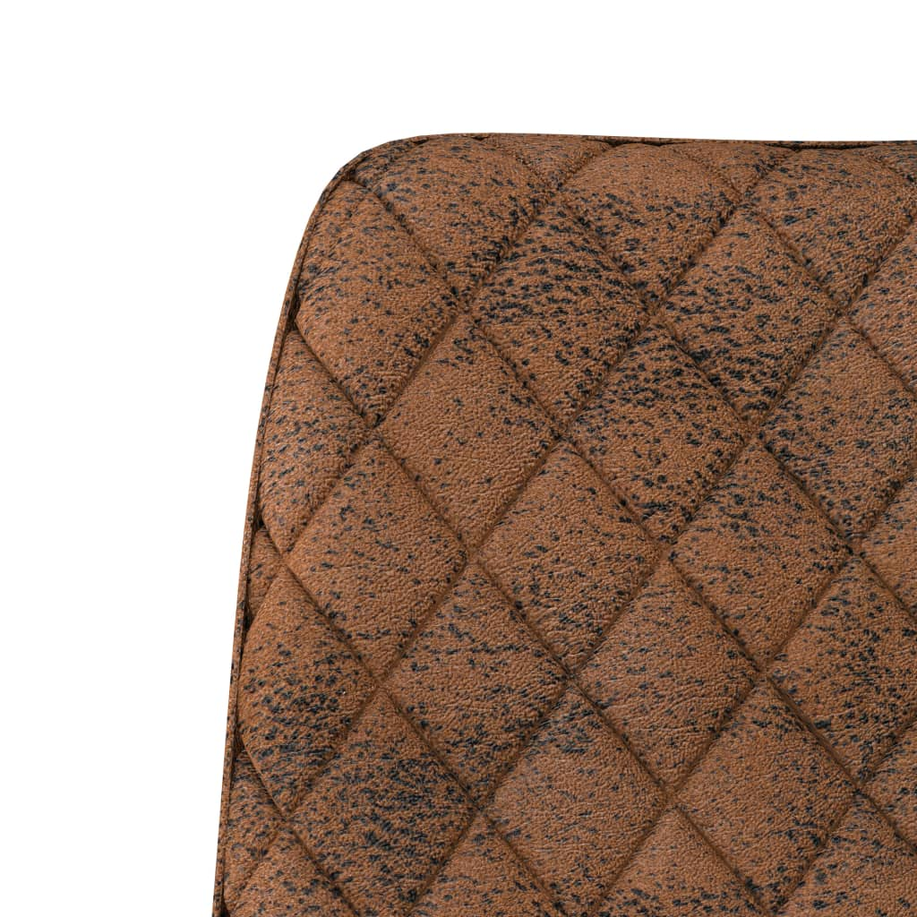Dining Chairs 4 pcs Brown Faux Suede Leather 6
