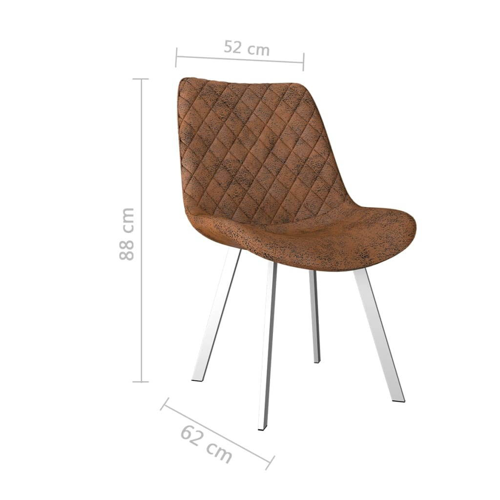 Dining Chairs 4 pcs Brown Faux Suede Leather 7