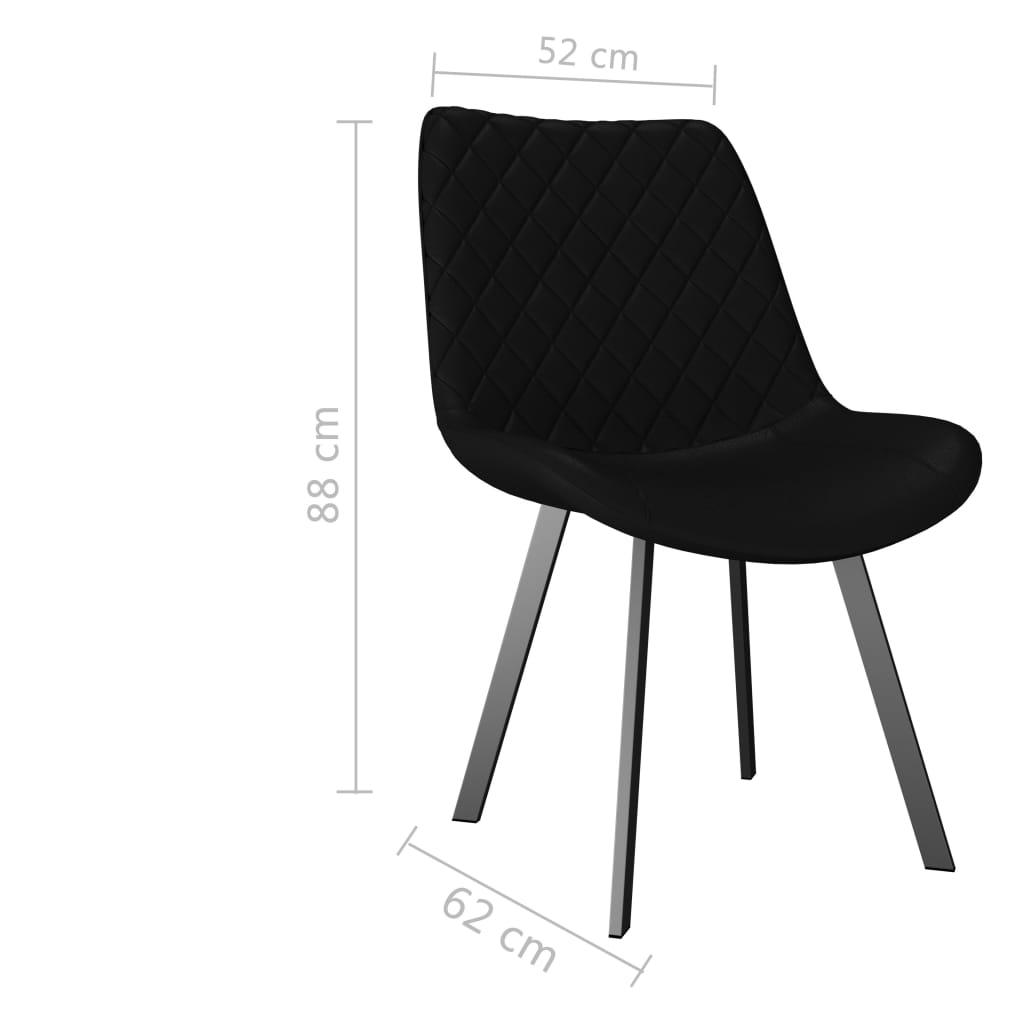 Dining Chairs 4 pcs Black Faux Leather 7