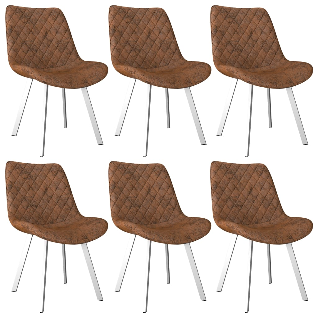 Dining Chairs 6 pcs Brown Faux Suede Leather 1