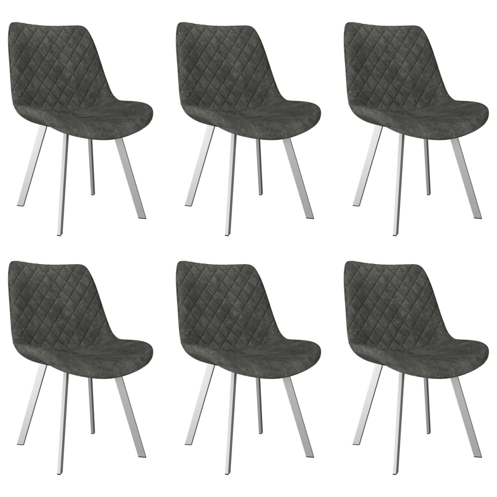 Dining Chairs 6 pcs Grey Faux Suede Leather 1