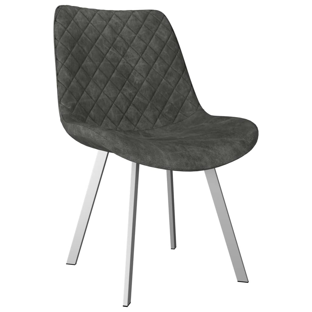 Dining Chairs 6 pcs Grey Faux Suede Leather 2