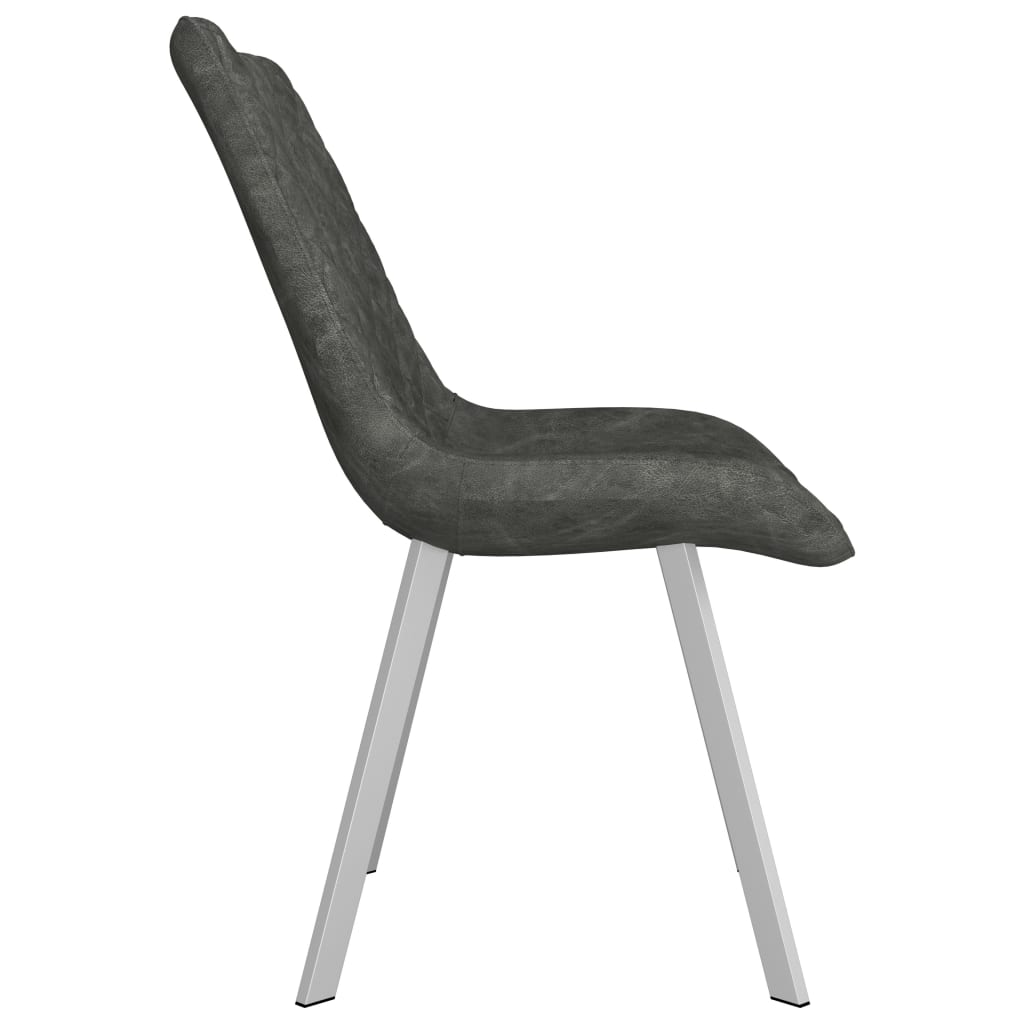 Dining Chairs 6 pcs Grey Faux Suede Leather 4