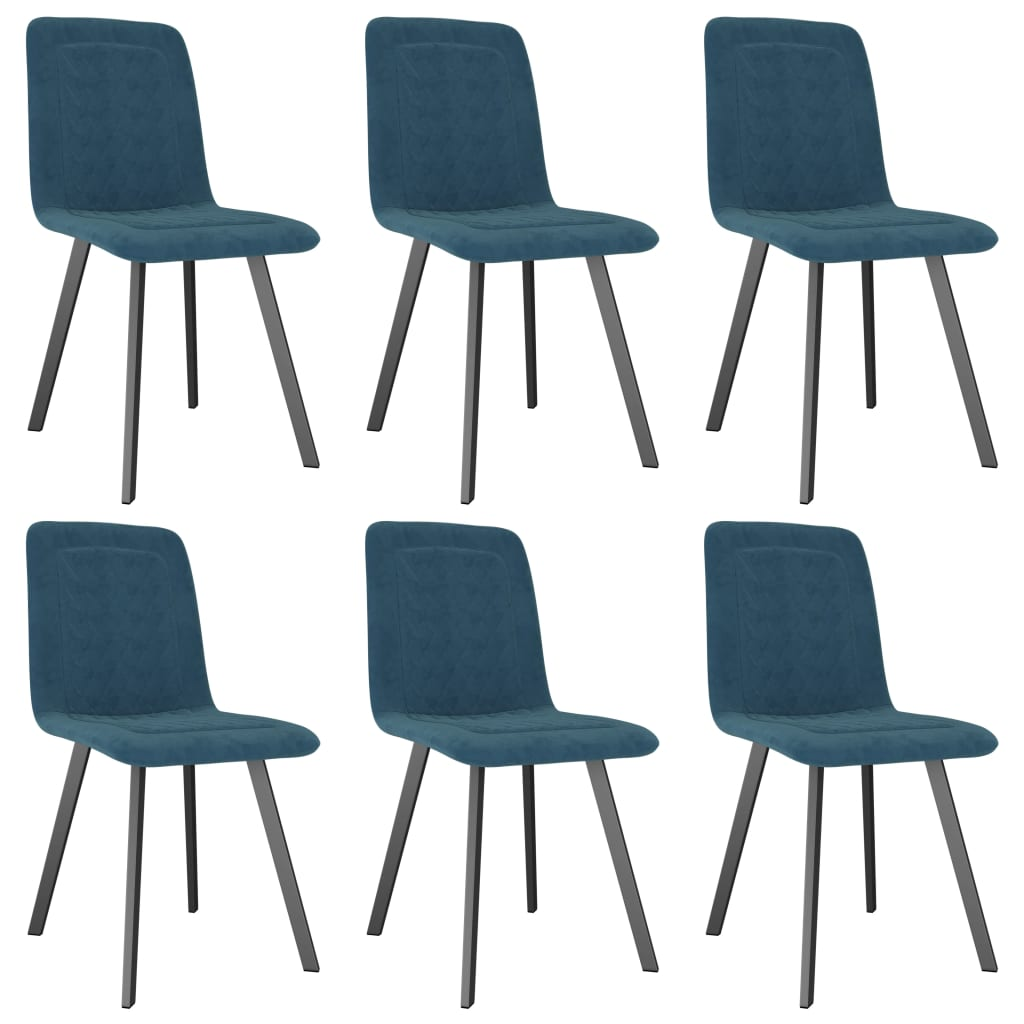 Dining Chairs 6 pcs Blue Velvet