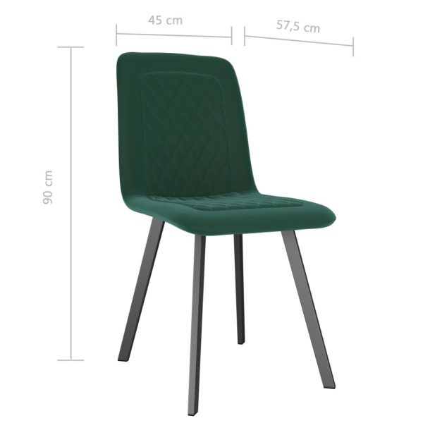 Dining Chairs 6 pcs Green Velvet 7