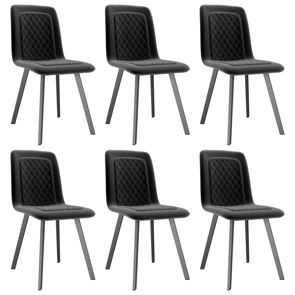 Dining Chairs 6 pcs Black Velvet