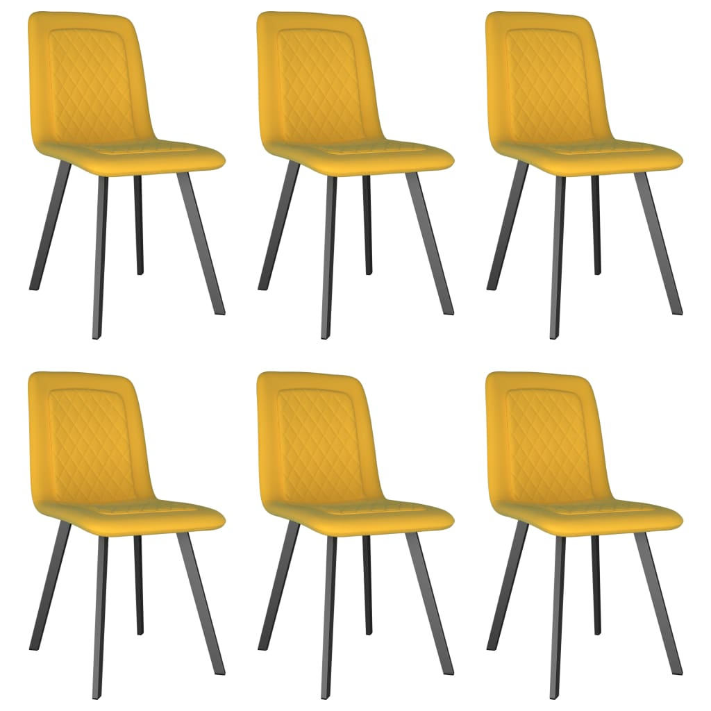 Dining Chairs 6 pcs Yellow Velvet