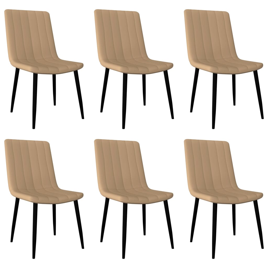 Dining Chairs 6 pcs Cream Faux Leather 1