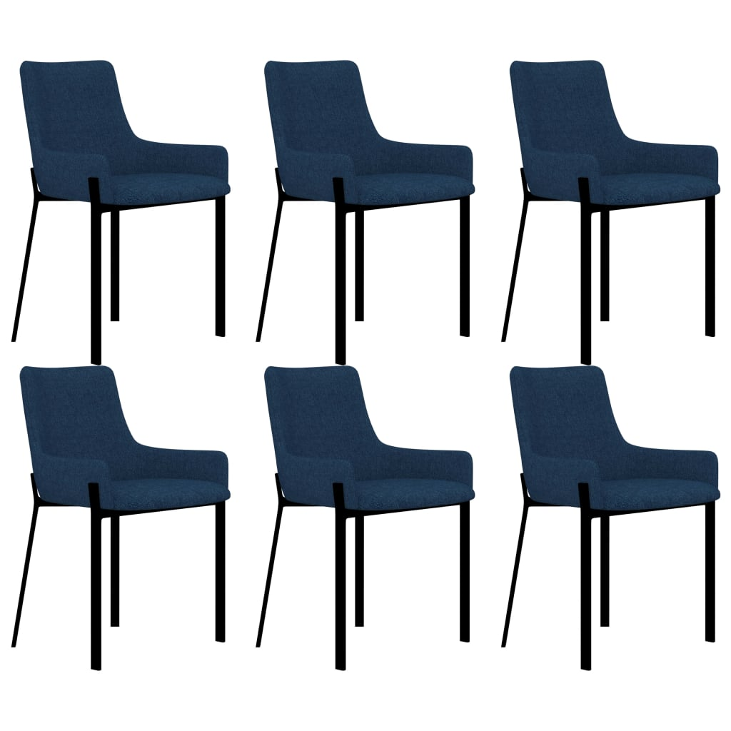 Dining Chairs 6 pcs Blue Fabric