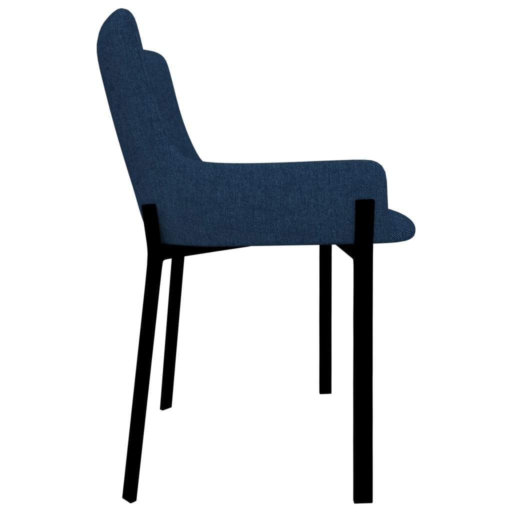 Dining Chairs 6 pcs Blue Fabric 4