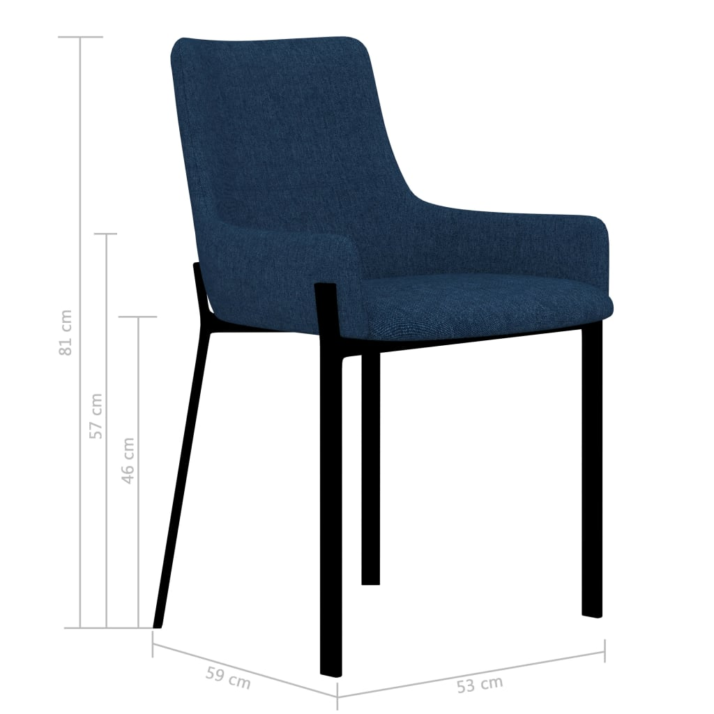 Dining Chairs 6 pcs Blue Fabric 7