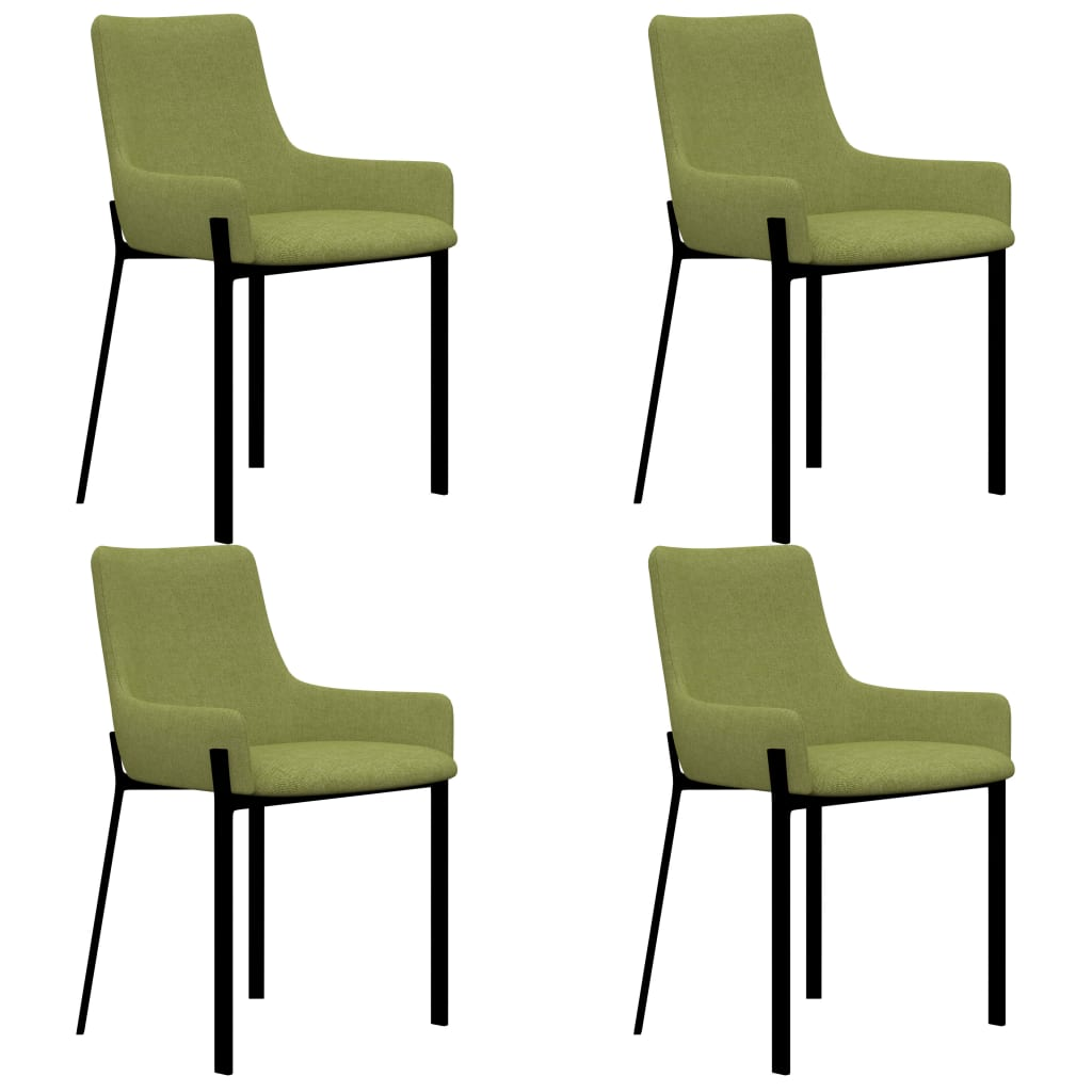 Dining Chairs 4 pcs Green Fabric 1