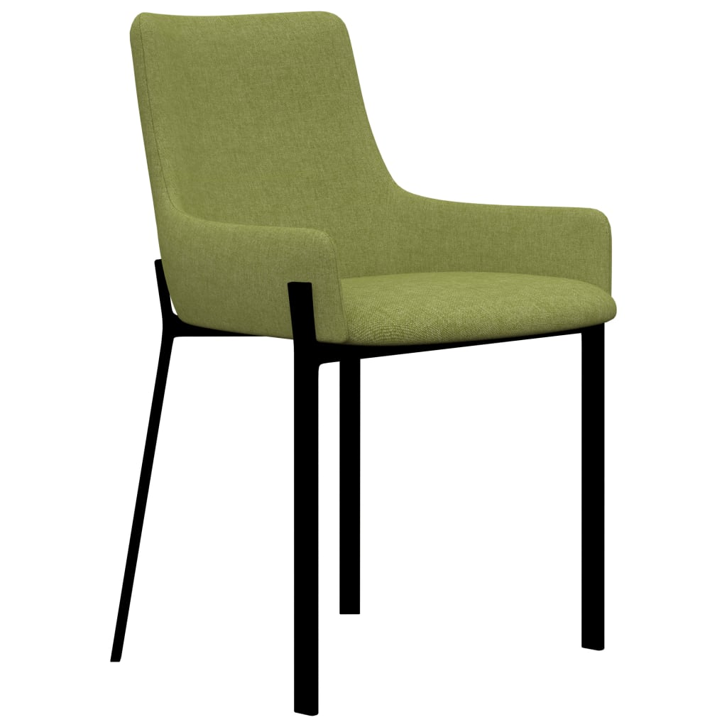 Dining Chairs 6 pcs Green Fabric 2