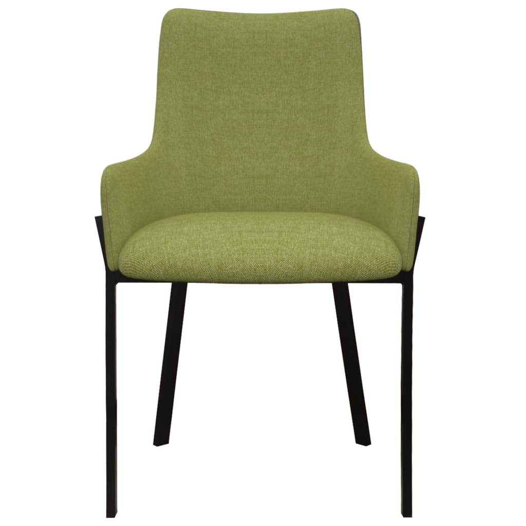 Dining Chairs 6 pcs Green Fabric 3