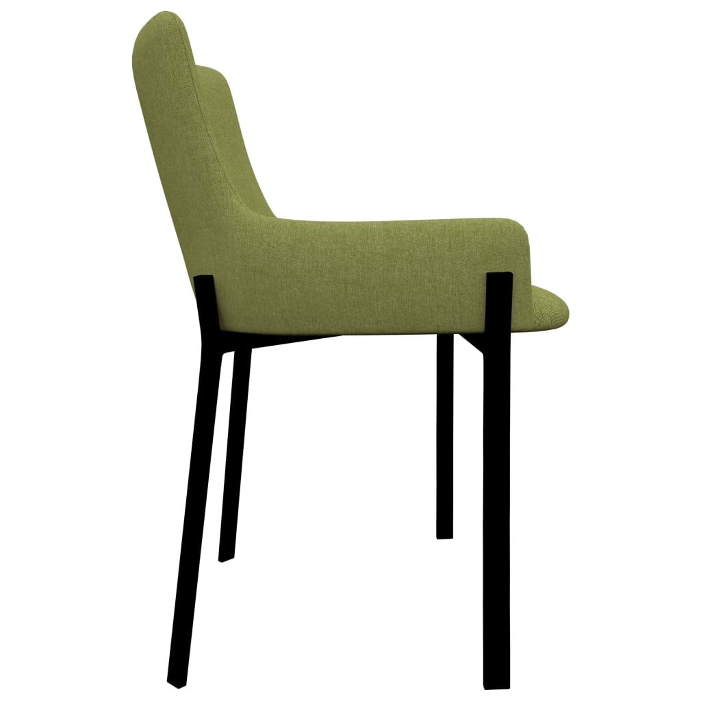 Dining Chairs 6 pcs Green Fabric 4