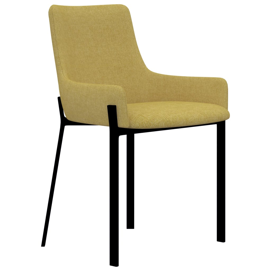 Dining Chairs 4 pcs Yellow Fabric 2