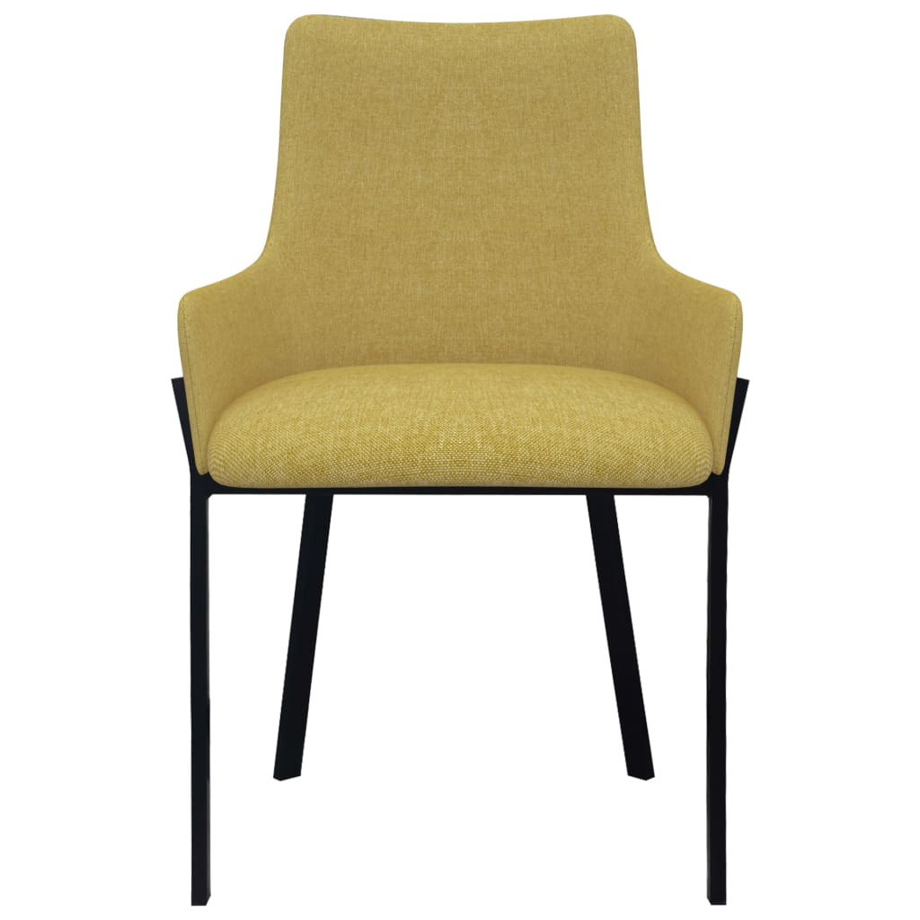 Dining Chairs 4 pcs Yellow Fabric 3