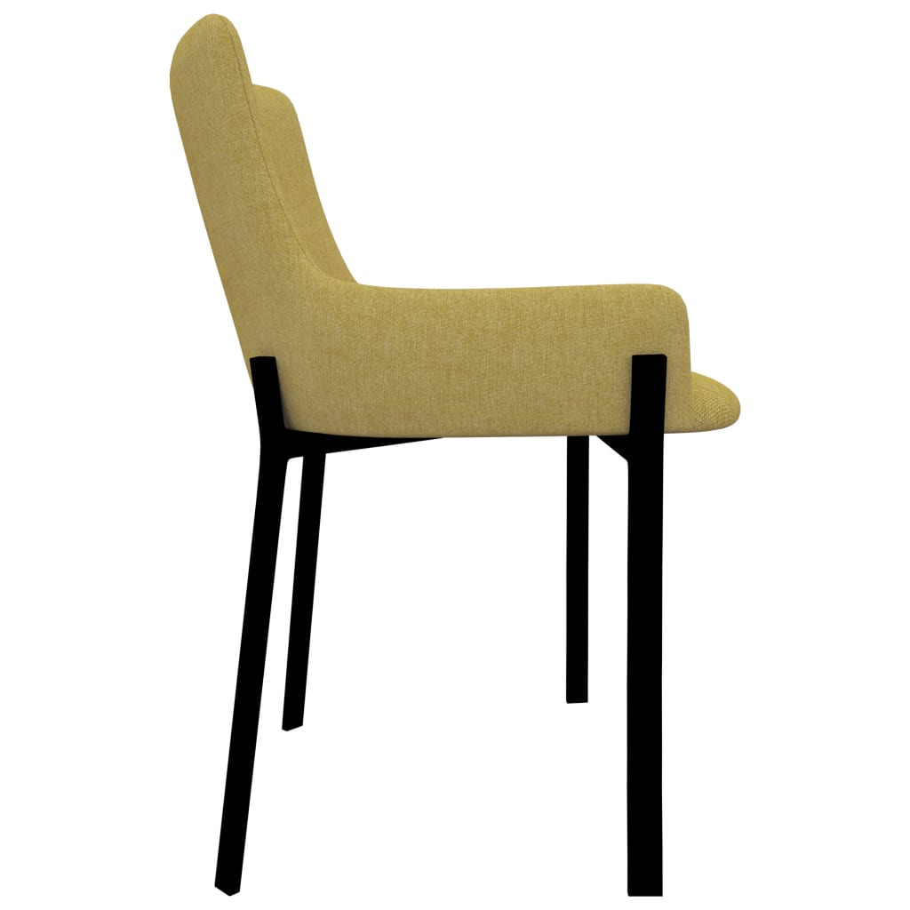Dining Chairs 4 pcs Yellow Fabric 4