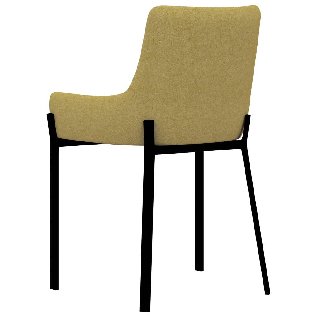 Dining Chairs 4 pcs Yellow Fabric 5