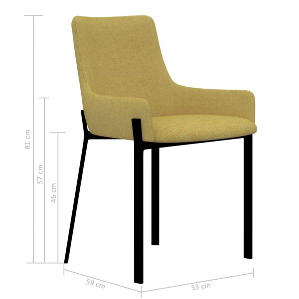 Dining Chairs 4 pcs Yellow Fabric 7