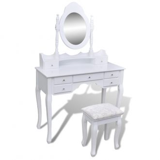 Dressing Table with Mirror and Stool 7 Drawers White 1