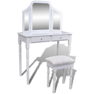 Dressing Table with 3-in-1 Mirror and Stool 2 Drawers White 1