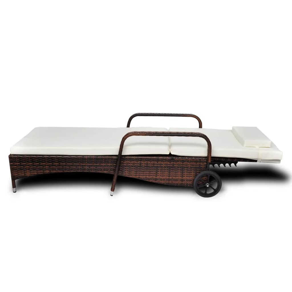Sun Lounger with Cushion & Wheels Poly Rattan Brown 3