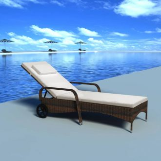 Sun Lounger with Cushion & Wheels Poly Rattan Brown 1